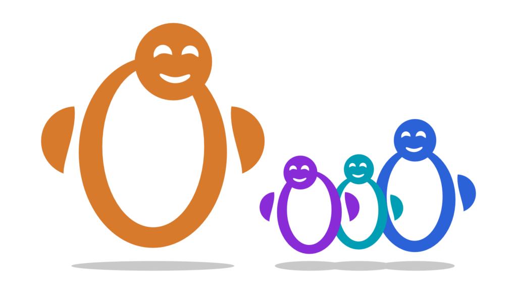Vier freundliche Maskottchen, das am linken Rand am größten und orange. Es blickt in Richtung der anderen drei in den Farben lila, petrol und blau.